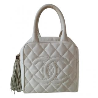 Chanel Ice-White Vintage Leather CC Top Handle Bag