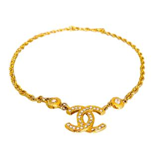 Chanel 14kt Gold Vermeil Crystal CC Necklace