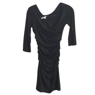Diane Von Furstenburg Black Ruched Wrap Style Dress