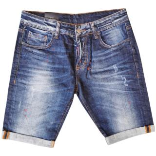 DSquared2 Men's Blue Denim Paint Splash Shorts