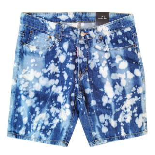 DSquared2 Men's Blue Bleached Denim Shorts