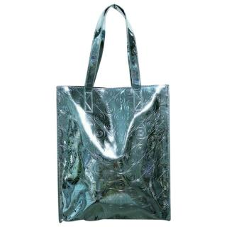 Kenzo Faux Patent Leather Blue Metallic Tote