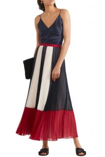 REDValentino Color-block pleated chiffon maxi skirt