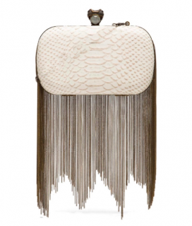 House of Harlow Snake Embossed Chain Draped Clutch