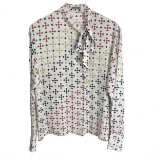 Bottega Veneta Silk Printed Tie Neck Blouse