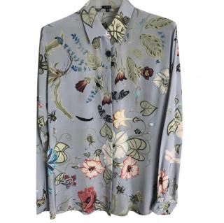 Gucci Blue Silk Floral Print Blouse