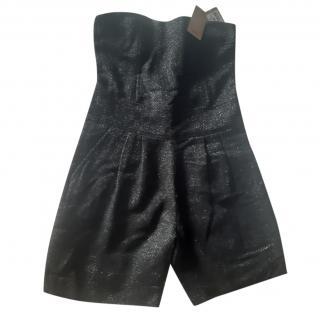 APC Black Lurex Strapless Playsuit