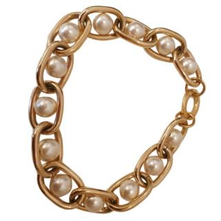 Givenchy Faux Pearl Chain Link Necklace
