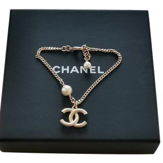 Chanel Faux Pearl CC Drop Bracelet