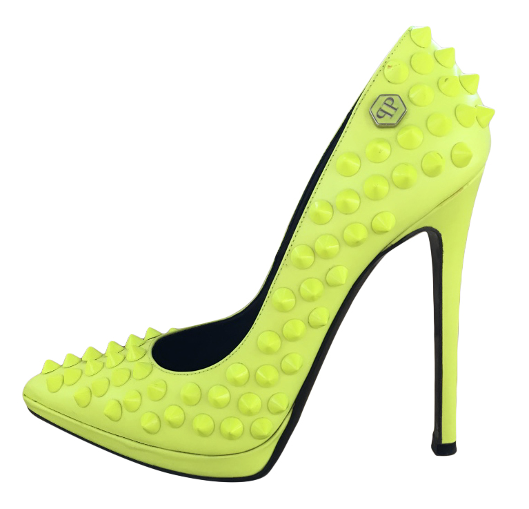 Philipp Plein Neon Spiked Pumps