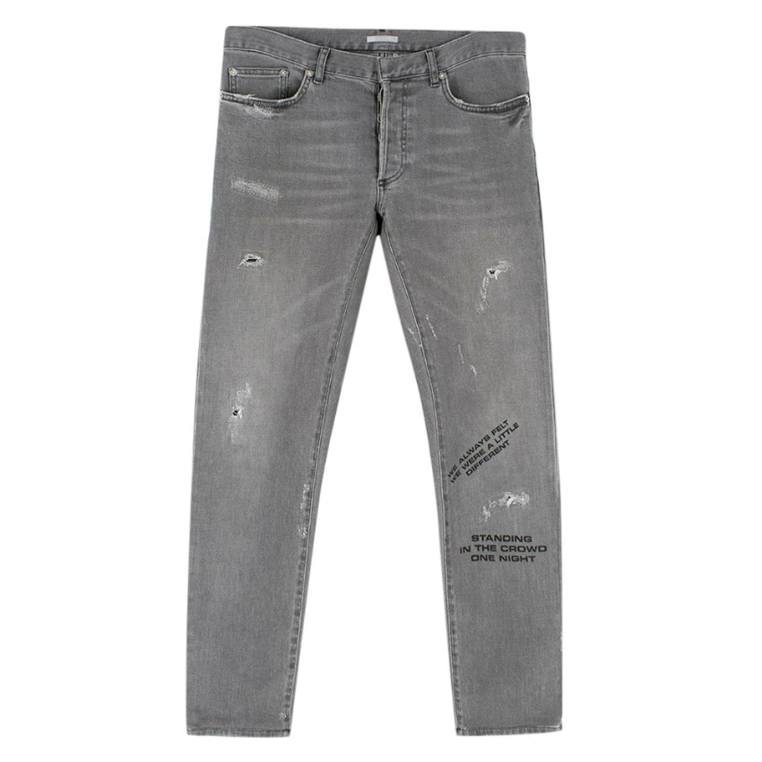 Dior Homme Grey Slim Distressed Graffiti Jeans