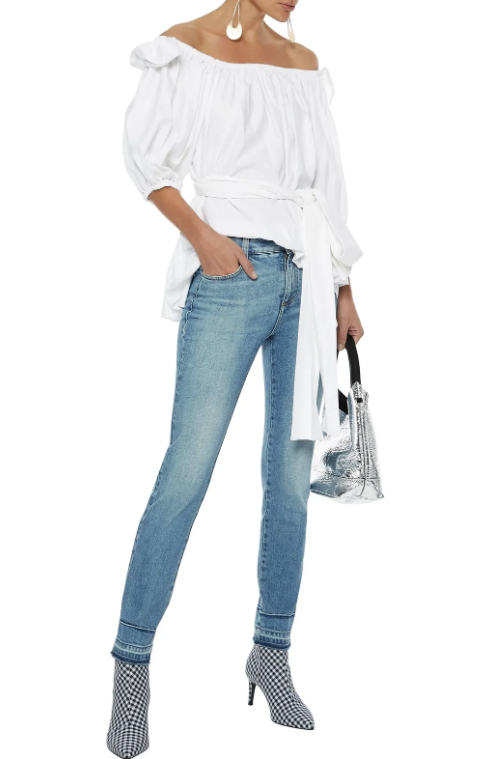 Stella McCartney Michelle off-the-shoulder belted cotton-poplin blouse