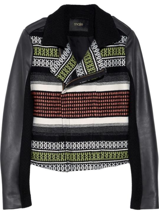 Maje Samy jacquard and leather biker jacket