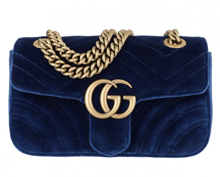 Gucci Marmont blue mini quilted-velvet cross-body bag