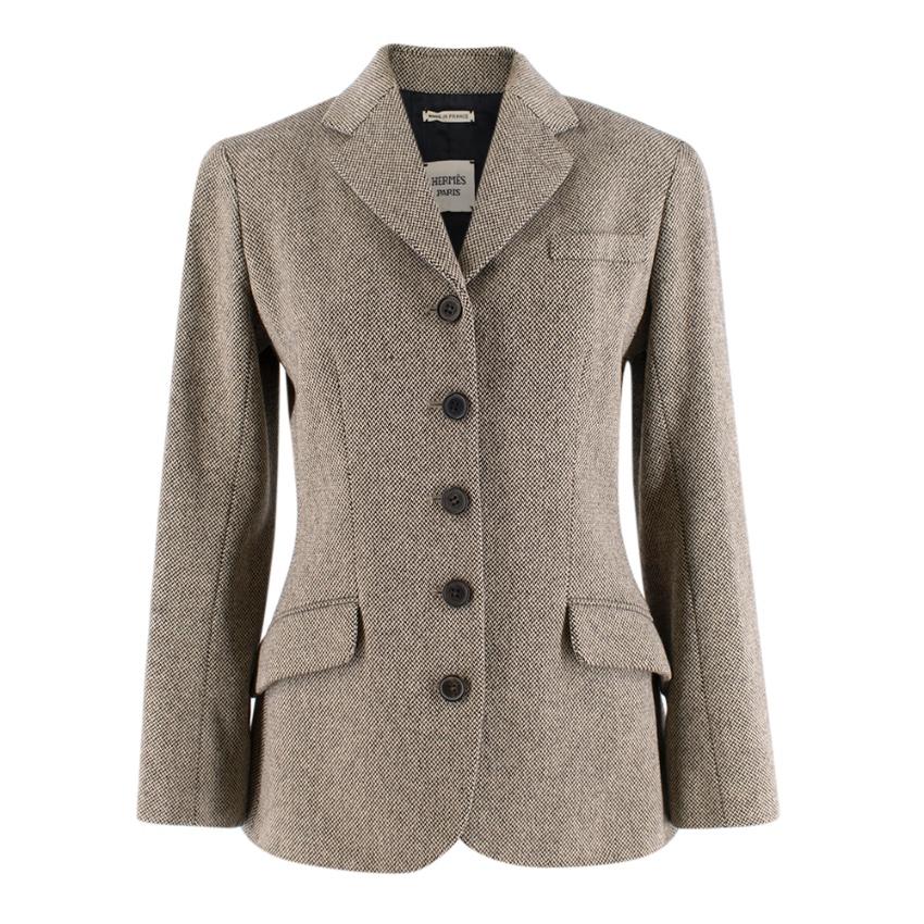 Hermes Wool & Cashmere Herringbone Blazer