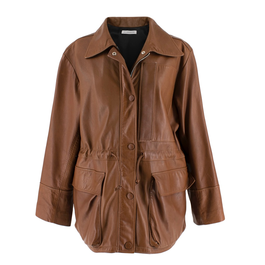 JW Anderson Brown Soft Leather Drawstring Waist Jacket