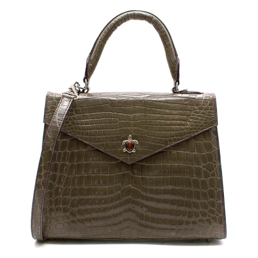 Ethan K Alla Crocodile Medium Top Handle Bag in Gris Fonce Shiny