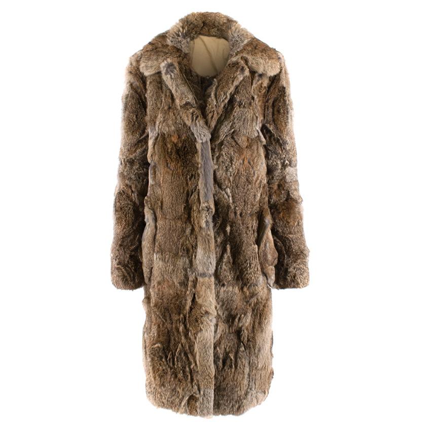 Celine Natural Rabbit Fur Longline Coat