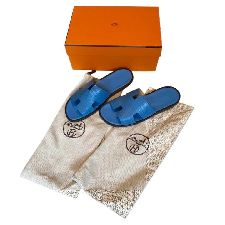 Hermes Blue Izmir Crocodile Sandals