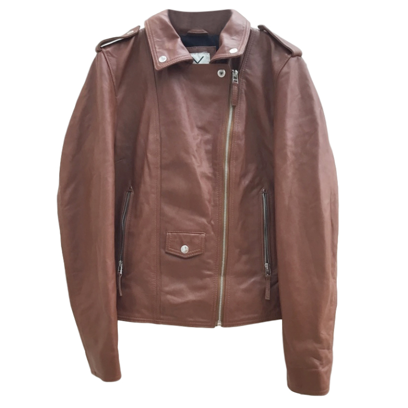 Each x Other Brown Leather Bomber Jacket