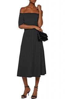 Tibi black strapless stretch-crepe midi dress
