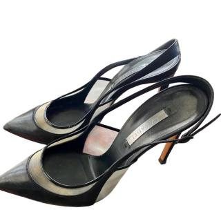 Casadei Leather & Mesh Slingback Sandals