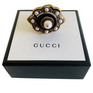 Gucci Velvet & Faux Pearl Pin Cushion Ring