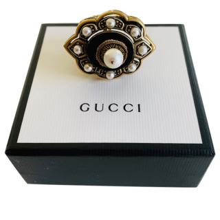 Gucci Velvet & Faux Pearl Pin Cushion Ring