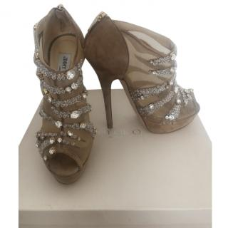 Jimmy Choo embellished nude suede boot sandals