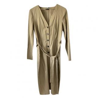 Alexander McQueen Linen Khaki Shirt Dress