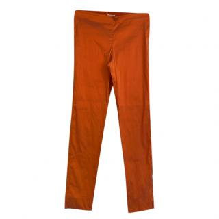 PAROSH Orange Silk Slim Fit Pants
