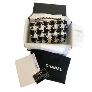 Chanel Black & White Tweed Coco Ribbon Mini Flap Bag