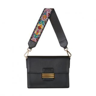 Etro Black Leather Shoulder Bag with Embroidered Shoulder Strap