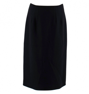 Alberta Ferretti Black Wool Blend Midi Skirt