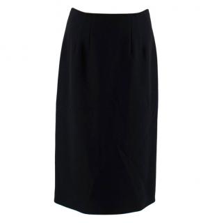 Alberta Ferretti Black Wool Blend Midi Skirt