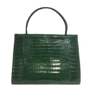 Nancy Gonzalez Emerald Green Crocodile Tote Bag