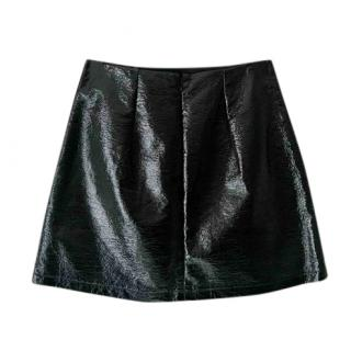 MSGM Black A-Line Poly Mini Skirt