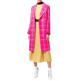 Fendi Pink Double breasted check coat
