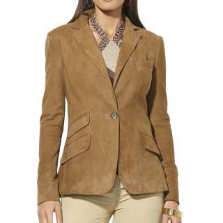 Ralph Lauren Camel Suede Tailored Jacket