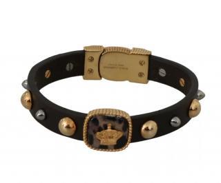 Dolce & Gabbana Black Leather Men's Studded Bracelet