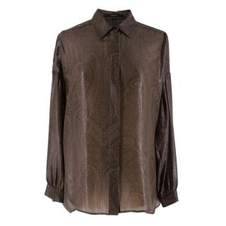 Gucci Brown Sheer Shirt Metallic Paisley Print Shirt