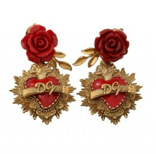 Dolce & Gabbana Red & Gold Floral Heart Drop Earrings