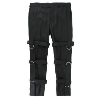 Dior Homme Black Virgin Wool Buckle Detail Trousers