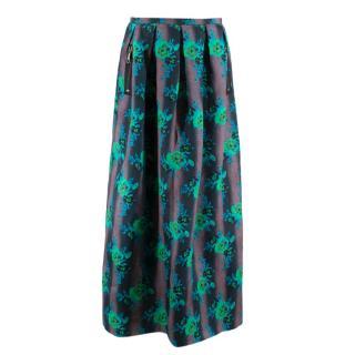 Christopher Kane Silk Floral Pleated Maxi Skirt