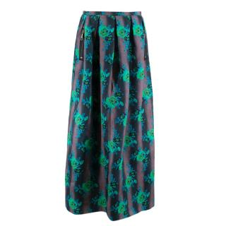 Christopher Kane Silk Floral Pleated Maxi Skirt