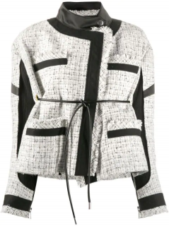 Sacai contrast panel back tie tweed jacket