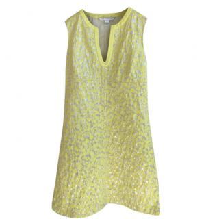 Diane Von Furstenberg Yellow Jacquard Shift Dress