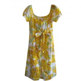 Diane Von Furstenberg Yellow Floral Print Aubrey Dress