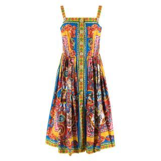 Dolce & Gabbana Multicolor Carretto Siciliano Print Dress