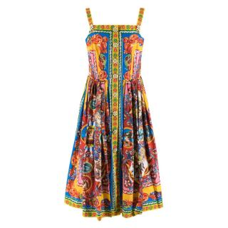 Dolce & Gabbana Multicolor Carretto Siciliano Print Dress